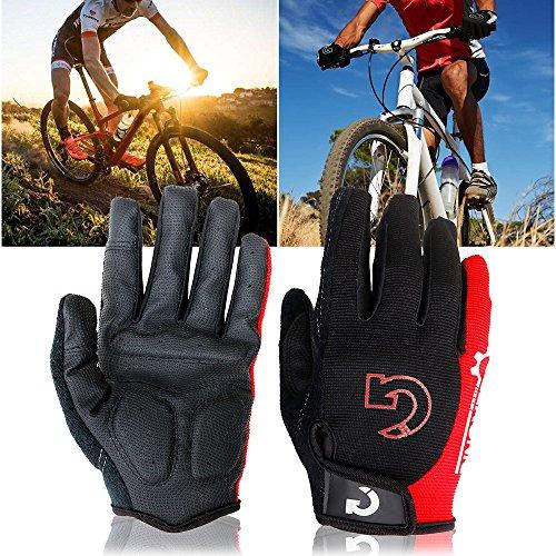 "GEARONIC Cycling Shockproof Foam Padded Sports Full Finger Short Gloves(Red XXL 9""-9.5"")"