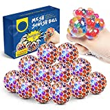 Aogist Mesh Squishy Balls,12 Pack LED Anti-Stress Squeeze Grape Ballswith Water Beads,Sensory Fidget Toy for Anxiety Relief for Children and Adults