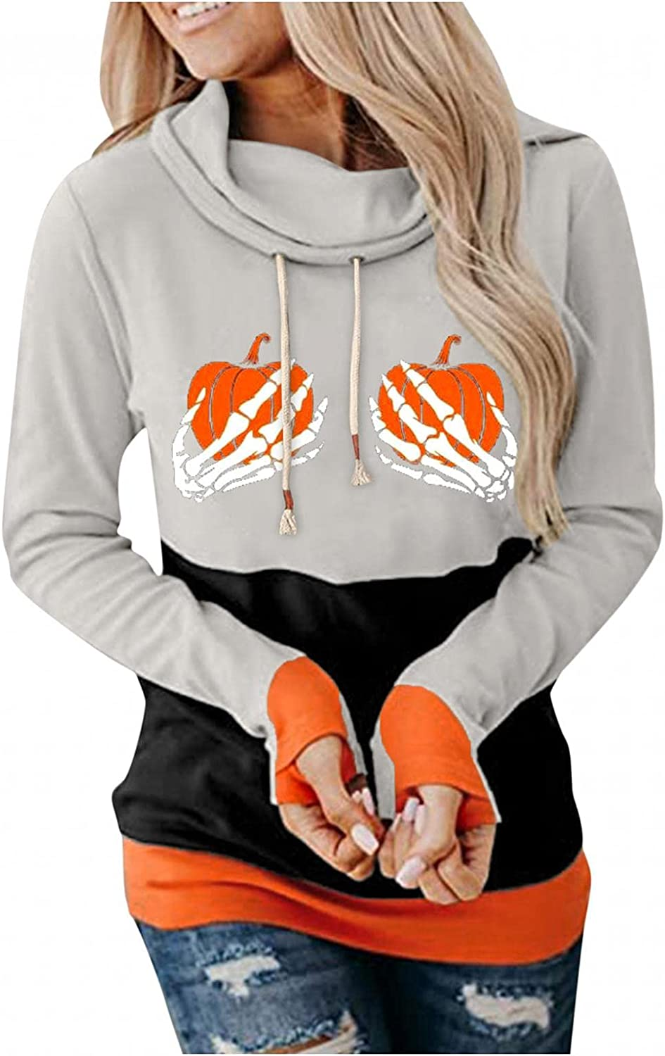 UOCUFY Hoodies for Women, Womens Halloween Cute Graphic Color Block Sweatshirts Pullover Casual Long Sleeve Hoodies Tops