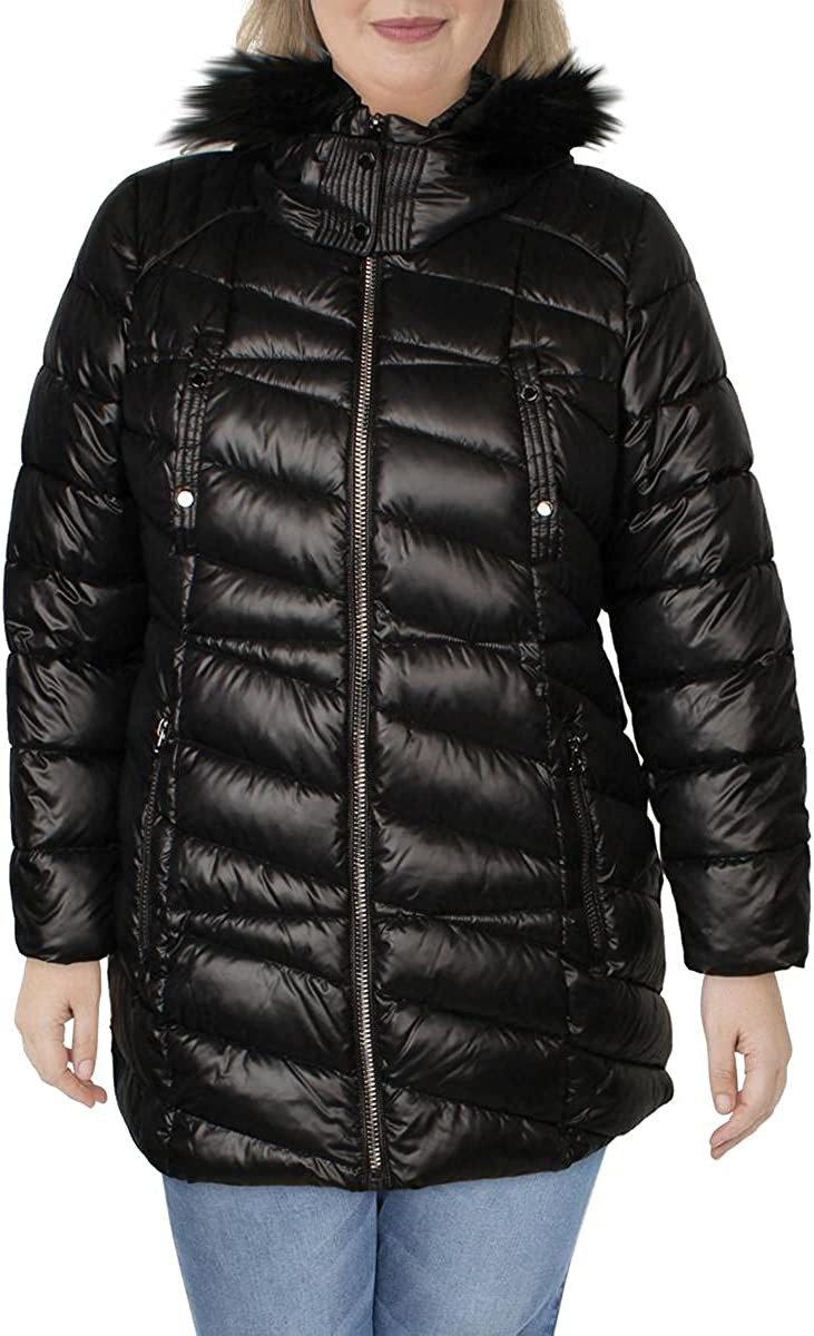 Marc New York by Andrew Marc Womens Shirley Hooded Faux Fur Puffer Coat
