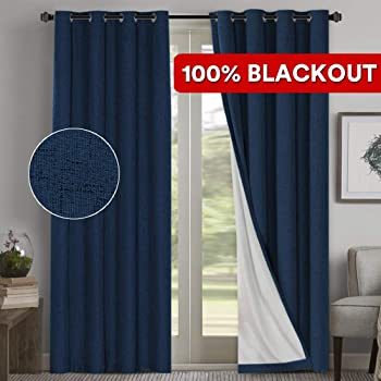 2 Panels, Gray Flamingo P 100/% Blackout Bedroom Living Room Grey Curtains//Drapes with Anti Rust Grommets Waterproof Textured Linen Curtains 84 Long Thermal Insulated Indoor Window Drapes