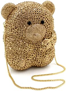 for Party Rhinestone Dinner Bag Lady Handmade Bags Noble Banquet Clutch Shoulder Chain Bag Dress Hard Shell Gift Bear Shape (Color : Yellow, Size : M)