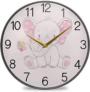Chovy 掛け時計 サイレント 連続秒針 壁掛け時計 インテリア 置き時計 北欧 おしゃれ かわいい 象 エレフェン 花 ピンク 可愛い かわいい おもしろ 部屋装飾 子供部屋 プレゼント