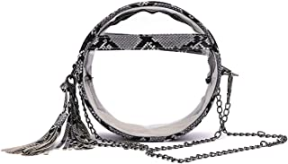 Snakeskin Shoulder Bag Round Clear Crossbody Purse Stadium Approved Phone Pouch for NCAA PGA NFL