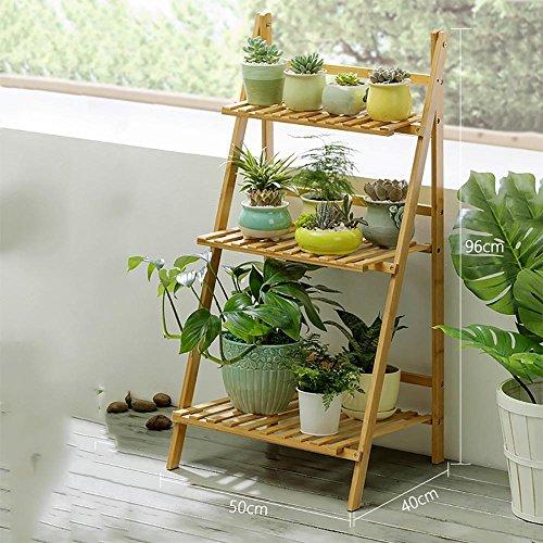 LLLXUHA Plantes en pot Multi-couche Stand de plante, Simple Pliant Multifonction Support de fleurs, intérieur Plantes charnues Présentoir, Espace de rangement livres étagère à livres , Primary Color , 50*40*96cm