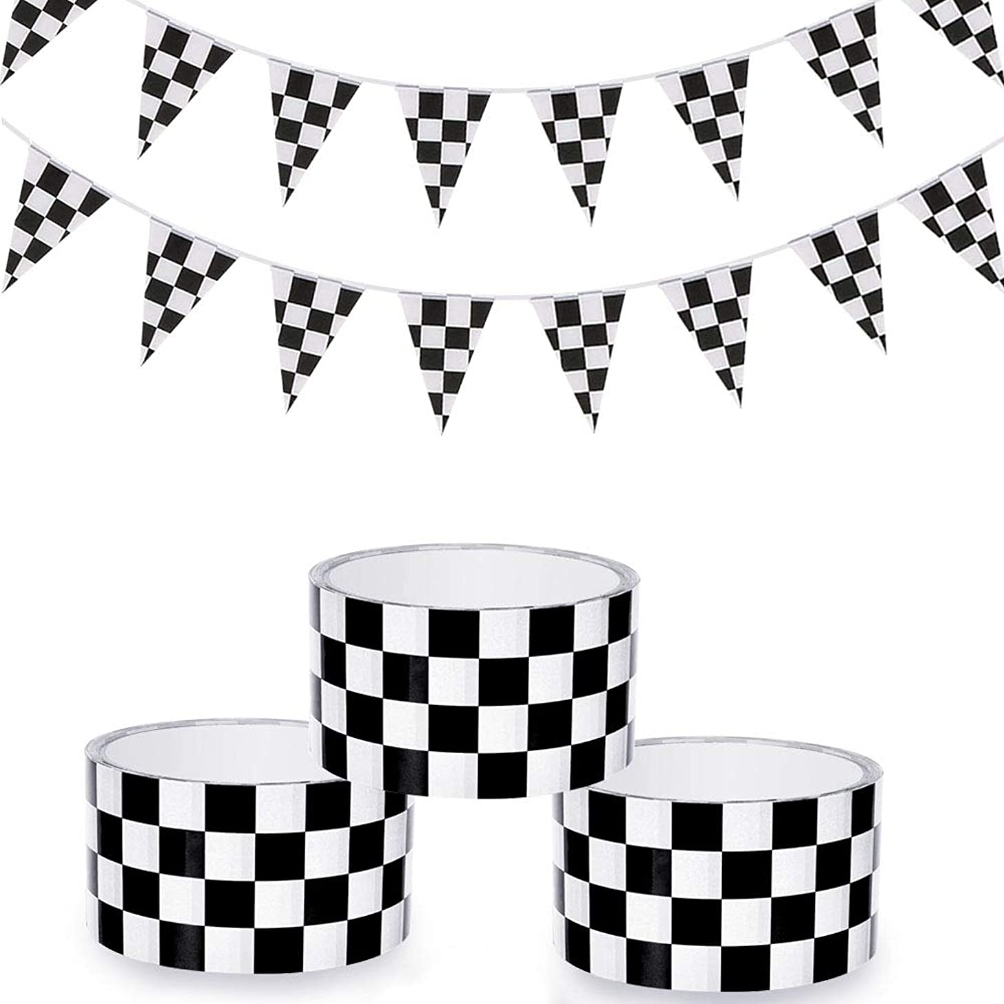 Homgaty 3 Rolls Checkered Flag Tape Black and White Checkerboard Tape with 26 ft Racing Pennant Flag Banners,Race Car Party Supplies & Decorations