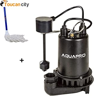 Toucan City String Mop and AquaPro 1/2 HP Submersible Sump Pump with Direct-in Vertical Float Switch 30011-4