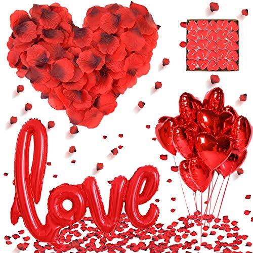 DASIAUTOEM Set di Decorazioni Romantica, Amore Palloncini+1000 Petali di Rosa+10 Palloncini a Forma di Cuore+50 Lumini a Forma di Cuore Decorazione Love per Anniversario Matrimonio e Fidanzamento