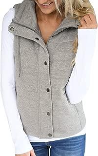 Women's Chunky Corduroy Sleeveless Jacket Quilted Padding Zip Up Vest Coat
