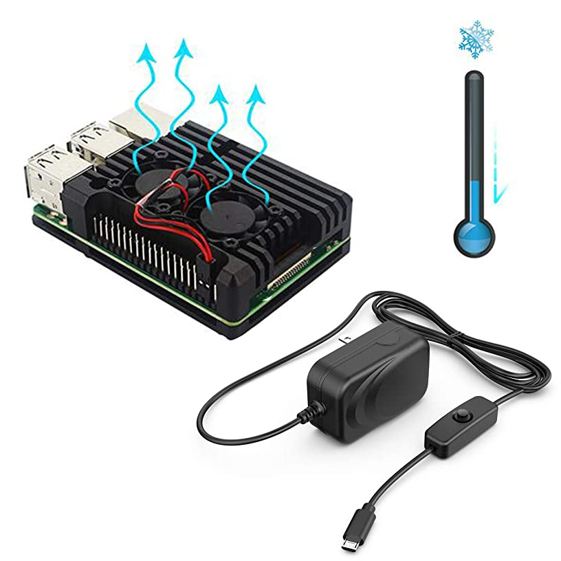 NorthPada Raspberry Pi 3 Model B+ KIT Power Supply 5V 3A with ON/Off Switch Micro USB + Aluminum Case with Dual Fan Heatsink (Only for Pi 3 B+)