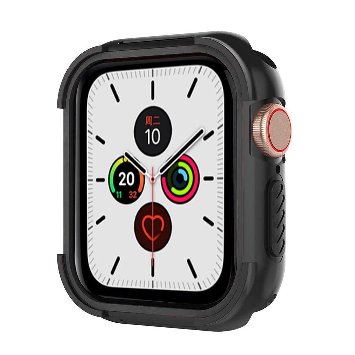 元の奨学金形式Kartice for Apple Watch Series 5 44mm 保護ケース 耐衝撃 傷防止 着装まま充電可能 TPU素材 アップルウォッチ5保護カバー Apple Watch 5 (44mm,黒)