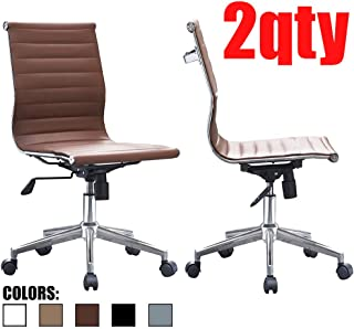2xhome - Set of Two (2) - Brown - Modern Mid Back Ribbed PU Leather Swivel Tilt Adjustable Office Chair Armless Designer Boss Executive Management Manager Conference Room Work Task Computer