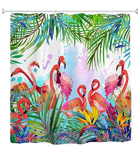 goodbath Duschvorhang Flamingo, Flamingos mit tropischem Blätter- & Blumenmuster Wasserdichter & schimmelabweisender Stoff Duschvorhang, 180 x 180cm, Pink Green