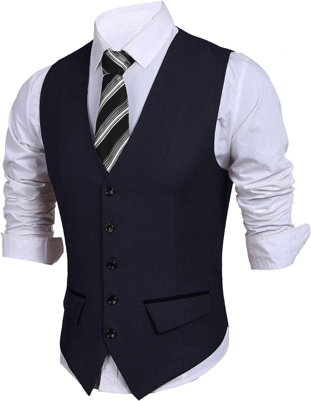 JINIDU Mens Suit Vest Slim Fit Business Dress Vests Wedding Waistcoat