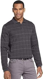 Men's Flex Classic-Fit Long Sleeve Windowpane Polo (Black, Large)