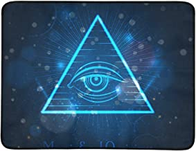 Masonic Eye of Omniscience On Blue Shining Backgro Pattern Portable and Foldable Blanket Mat 60x78 Inch Handy Mat for Camping Picnic Beach Indoor Outdoor Travel