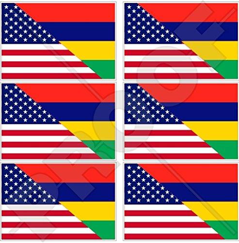 Lot de 6 mini autocollants en vinyle Maurice Moris, drapeau américain et mauricien 40 mm