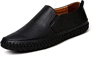 Driving Loafer For Men Casual Shoes Slip On Elastic Band Genuine Leather Sewing Thread Lightweight Anti Slip Flat Chic Classic` Ameyso (Color : Black, Size : 50 EU)