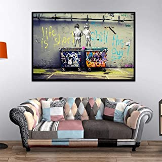 HSFFBHFBH Peinture sur Toile Banksy Graffiti Art Abstrait Affiches et Impressions Life is Short Chill The Duck Out Wall Ho...