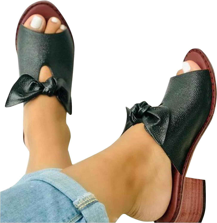 Niceast Women's Sandals Bow Open Toe mid Heel Cute Elegant Comfortable Flat Sandals Casual Summer Beach Sandals for Women