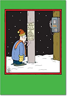 12 'In Case of Emergency' Boxed Christmas Cards with Envelopes (4.75 x 6.625 Inch), Funny Cartoon Holiday Notes, Hilarious Frozen Tongue and Pole Holiday Cards, Humorous Christmas Stationery B1594