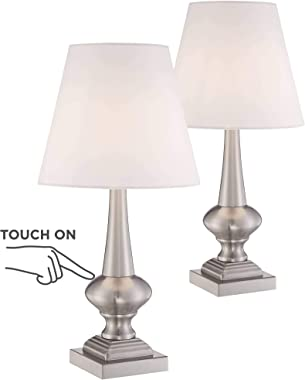 """Brooks Modern Table Lamps 19"""" High Set of 2 Touch On Off Brushed Nickel White Empire Shade for Bedroom Bedside Nightstand Office - 360 Lighting"""