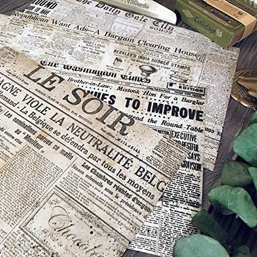 BLOUR 6 Stück A5 Junk Journal Industrial Retro Alte Zeitungsaufkleber Vintage TN Papier Material Aufkleber Tim Holtz adesivos Gudetama