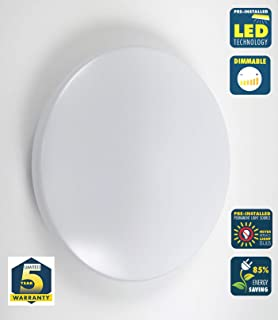 CORAMDEO 13 Inch Round LED Cloud Ceiling Light for hallways, bedrooms, Entry and Kitchen, Built in LED Gives 125W of Light with 17.5W of Power, Dimmable, White Finish with Acrylic Cloud Lens