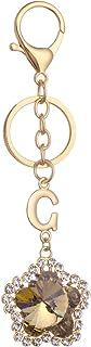 Giftale Flower Keychain for Women Cute Bag Charms Crystal Rhinestone Pendant Car Key Ring