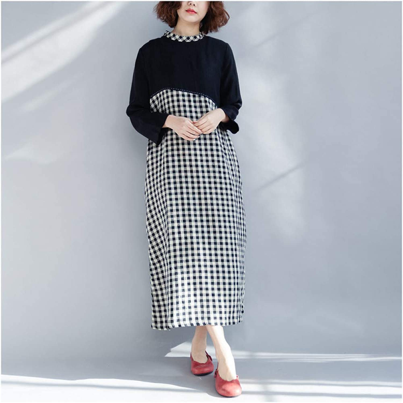 Cxlyq Dresses Loose Large Size Plaid Contrast Dress Women's Clothing
