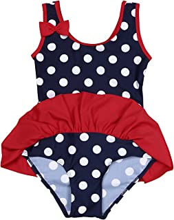 10b6cf6b2c YiZYiF Baby Girls Infant One-Piece Swimwear Cute Striped Dot Tutu Swim  Bathing Suit