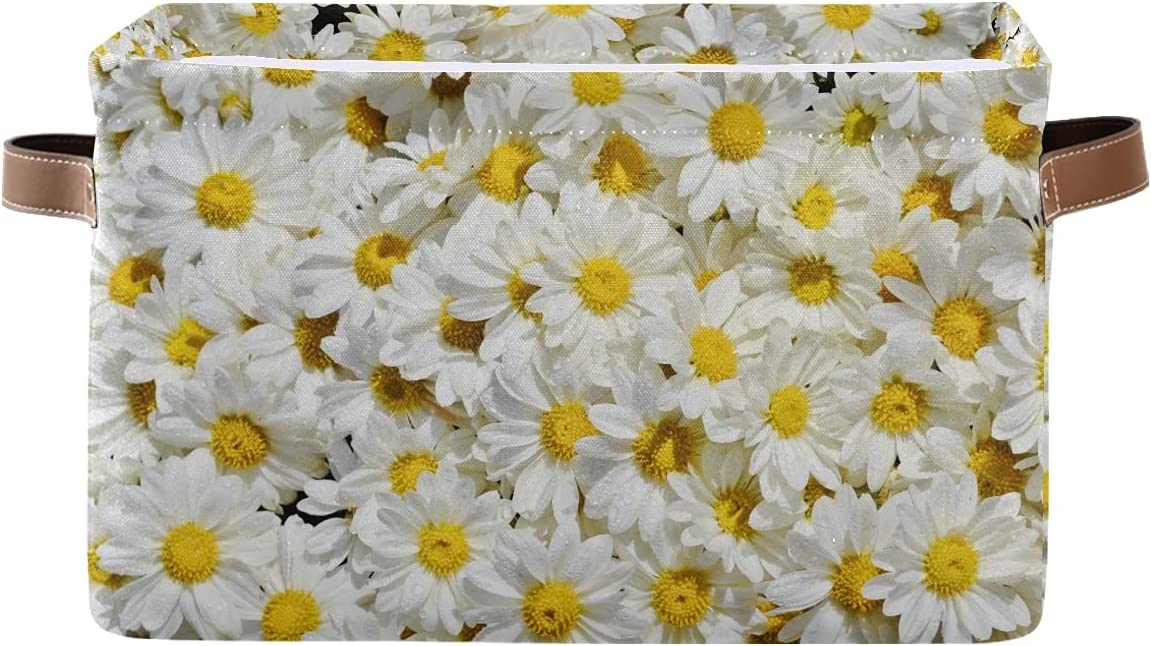 Industry No. 1 AUUXVA KUWT White low-pricing Daisy Flowers Storage Basket Bins Coll Floral