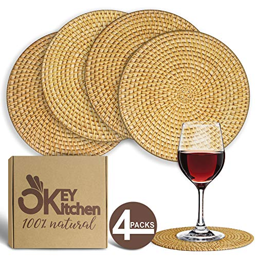 Trivets for Hot Dishes - Pack of 4 Rattan Handmade Trivets Placemats - Woven Dining Pot Mats - 8-inch Protection Pads for Tables - Heat-Resistant Coasters for Pots, Pans and Plates -Decorative Trivets