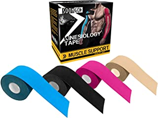 Kinesiology Tape 1/2 / 5 Rolls 2 Inch x 16 Foot Physio Relieve Muscle Soreness and Strain Shoulders Wrists Knees Ankles Elastic Waterproof Good Air Permeability Hypoallergenic FDA CE Authentication