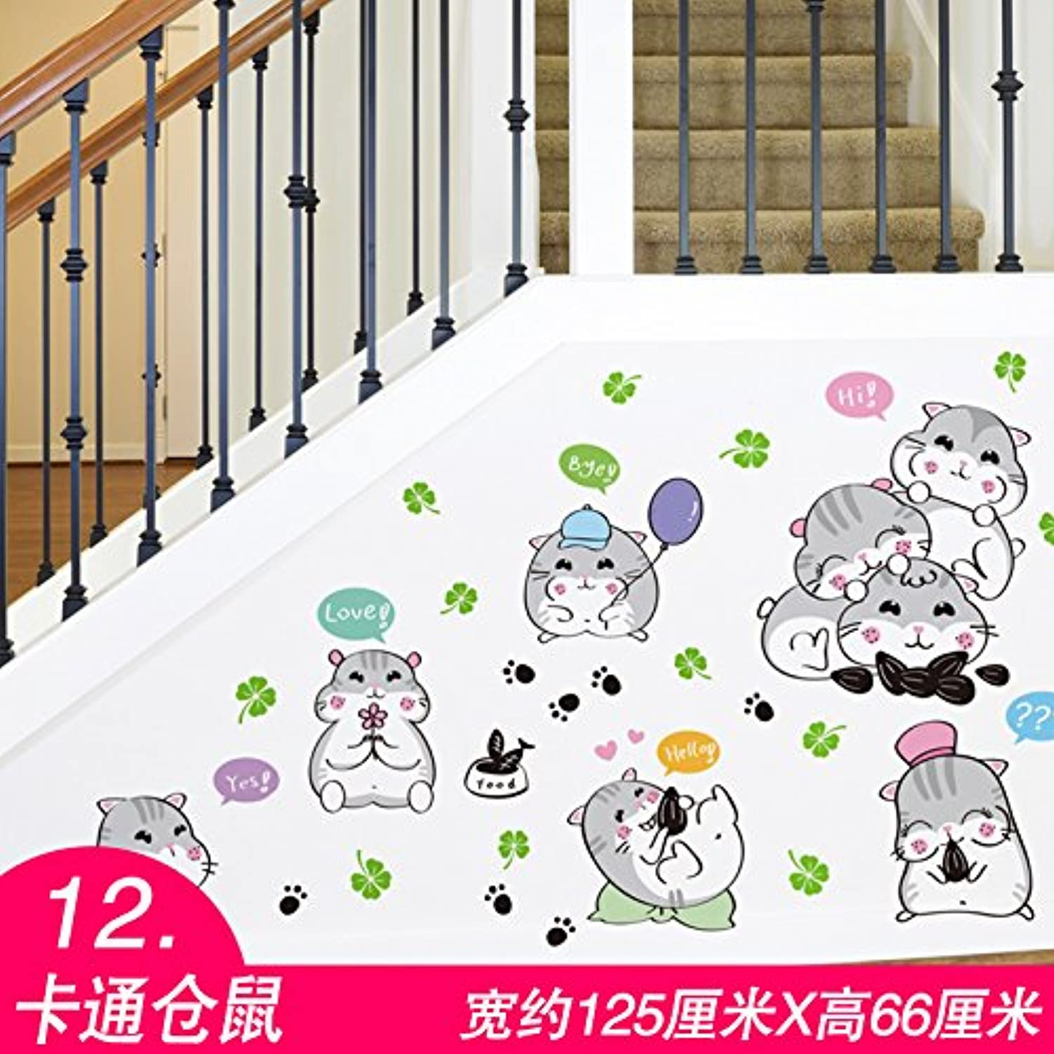 Znzbzt Room Wall Decorative Wall Sticker Sticker Bedroom Background SelfAdhesive Wallpaper, 12 Cartoon Hamster, Large