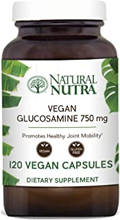 Natural Nutra Vegan and Vegetarian Glucosamine Hydrochloride, Kosher, Shellfish Free, Plant Based, Collagen, Joint and Cartilage Support Supplement, 750mg, 120 Capsules