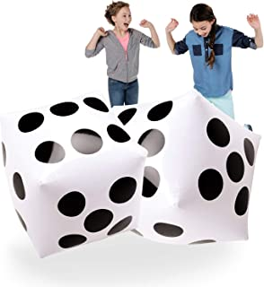 Giant Inflatable Dice 2 PCS by Novelty Place, 20 Inch White and Black Jumbo Dice for Indoor and Outdoor Broad Game, Ludo a...