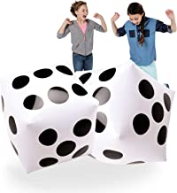 Giant Inflatable Dice 2 PCS by Novelty Place, 20 Inch White and Black Jumbo Dice for Indoor and Outdoor Broad Game, Ludo and Pool Party