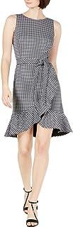 Calvin Klein Women's Sleeveless Dress with Self Belt and Ruffle Skirt Hem