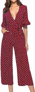 Corriee Women Spring Stylish Polka Dot Printed V-Neck Wide Leg Romper Pants Long Jumpsuit