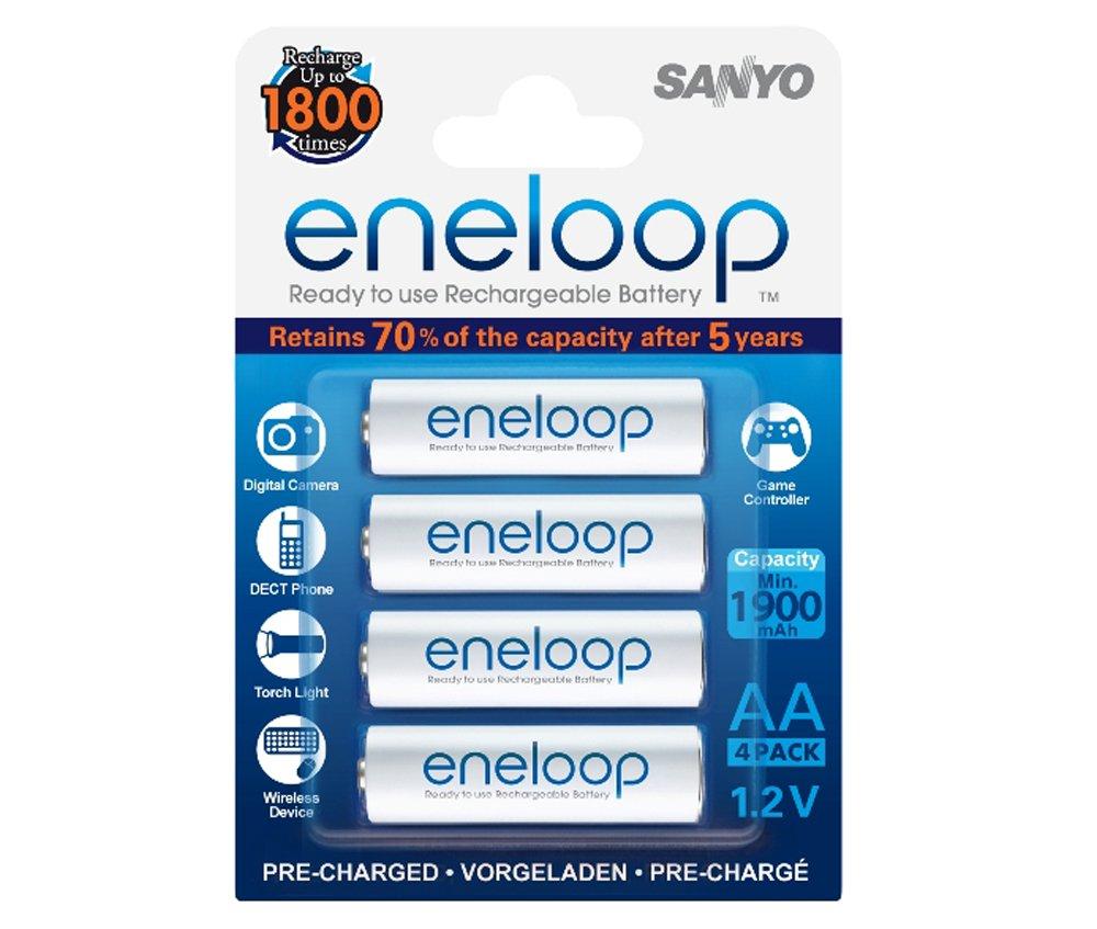 Sanyo Eneloop - Kit de 4 pilas recargables (NiMh, 1.2 V, 1900 mAh): Amazon.es: Electrónica