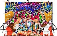 新しい5x3ftグラフィティアートの背景カラフルな壁画写真背景パーティーの装飾バナー写真ブーススタジオ小道具