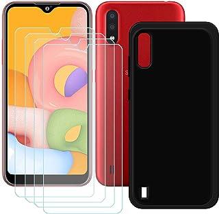 TTJ Svart skal till Samsung Galaxy M01S [4 st] HD pansarglas, mobiltelefonfodral silikon skyddande skydd TPU-fodral mobilv...