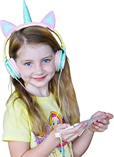 Gabba Goods Premium LED Light Up in The Dark Unicorn Over The Ear Comfort Padded Stereo Headphones with AUX Cable | Earphone Gift