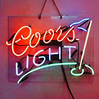 Coors Light Golf Real Glass Beer Bar Neon Light Sign 19x15