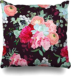 Throw Pillow Cover Pattern Winter Mixed Bouquets Peony Ranunculus BlackBerry Succulent Rose Hydrangea Carnation Brunia Decorative Pillowcase Square Size 18 x 18 Inches Home Decor Pillow Case