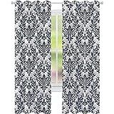 jinguizi Cortinas opacas de damasco ornamentado floral victoriano 52 x L63 para oscurecer la habitación, decoración del hogar para habitación de los niños