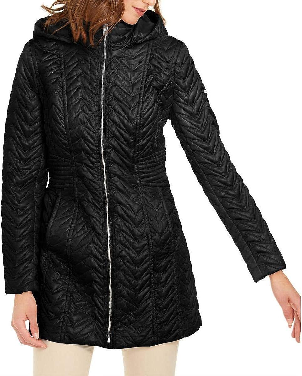 Via Spiga Womens Zig Zag Quilted Midi Puffer Jacket Black L