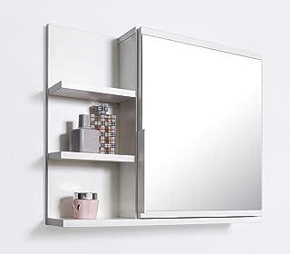 Armario con espejo para baño Domtech, con estantes, espejo de baño, color blanco, L