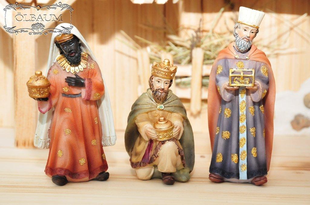 12 figuras de nacimiento KF-POK de calidad el, max, 8-10cm grande, figuras para Belén, hasta 60 cm, diseño y ejecución: Belén de Navidad historia Maria José Reyes Magos de Oriente, ideal para